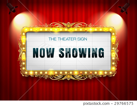 theater sign gold on curtain 29766575