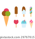Set ice cartoon colorful cream dessert vector 29767615