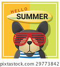 Hello summer background with dog wearing glasses 29773842