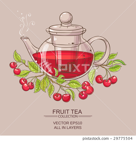 cherry tea illustration 29775504