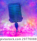 Banner with microphone for karaoke parties 29776088