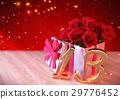 birthday concept with red roses in gift on wooden 29776452