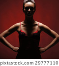 Horror woman over red background 29777110