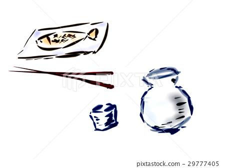 Supper and sake illustration cut illustration 29777405