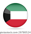 Flag of Kuwait. Shiny round button. 29780524