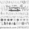 Floral design elements in doodle style 29781072