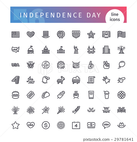 USA Independence Day Line Icons Set 29781641