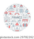 Vector Flat Line Banner Paris and France 29782262