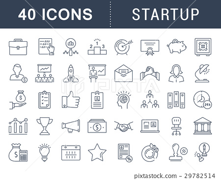 Set Vector Flat Line Icons Startup 29782514