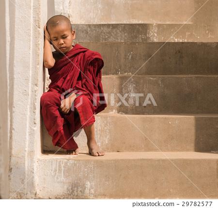Little monk stay in pagoda Mandalay,Myanmar. 29782577