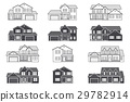 Set of vector thin line icon suburban american 29782914