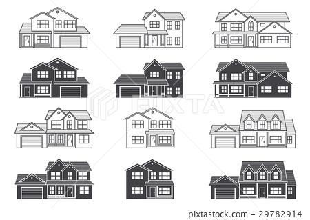Set of vector thin line icon suburban american 29782914