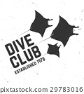 Scuba diving club. Vector illustration. 29783016