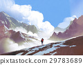 hiker with backpack looking at mountains 29783689