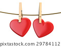 Hearts on rope with clothespin, valentine's day 29784112