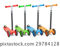 set of colored kick scooters, 3D rendering 29784128