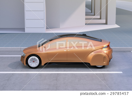 Automatic driving car of champagne gold color stopping at the side of the road. original design. 29785457