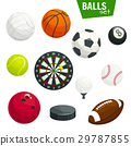 Sport balls and game items vector icons set 29787855