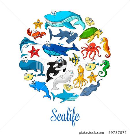 Sea ocean cartoon animals, fishes vector poster 29787875