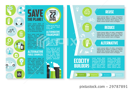 Earth Day brochure or poster template design 29787891