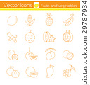 Yellow fruits and vegetables, Line vector icons. 29787934