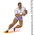 Rugby player hold rugby and running. 29787976
