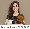 Woman Studio Portriat Casual Carrying a Box Isolated 29789817