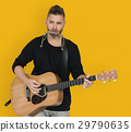 Men Musician Play Guitar Harmonica 29790635