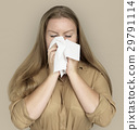 Caucasian Woman Sneezing Crying Tissue 29791114