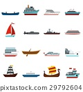 set, vector, boat 29792604