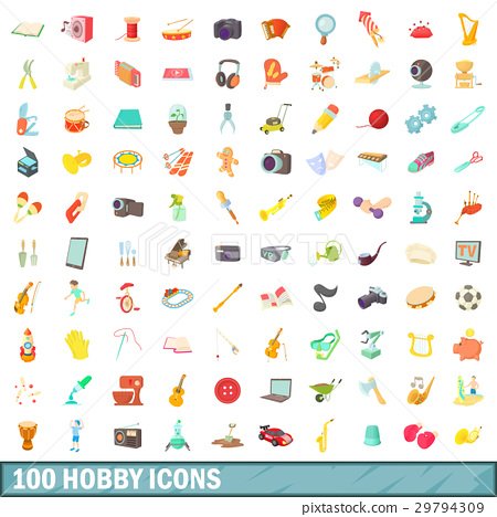 100 hobby icons set, cartoon style 29794309