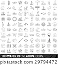100 water recreation icons set, outline style 29794472