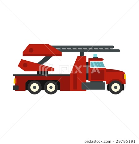 Red fire truck icon, flat style 29795191