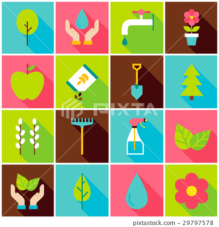 Gardening Spring Colorful Icons 29797578