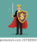 King businessman with shield and sword 29798900