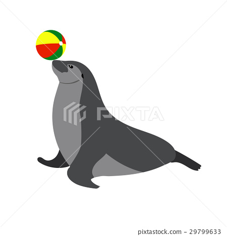 Illustration of Circus seal playing a ball 29799633