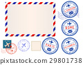 Collection of postal elements. envelope and stamp 29801738