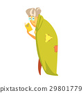 Senior woman standing covered with a green blanket 29801779