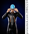 man swimmer swimming  triathlon ironman isolated 29802234
