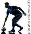 soccer player man silhouette isolated  29802344