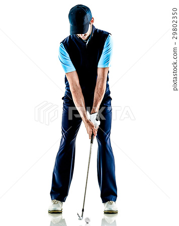 man golfer golfing isolated withe background 29802350