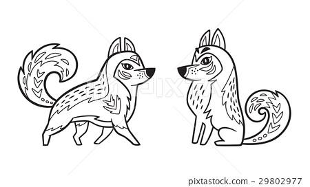 Outline Siberian Husky Dog Stock Illustration 29802977 Pixta