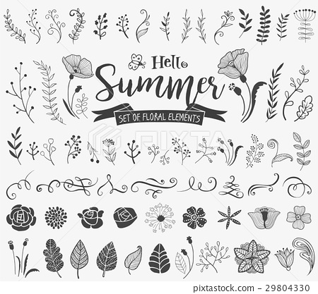 Floral design elements in doodle style 29804330