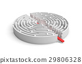 3d rendering of a white round maze in side view 29806328