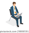 Businessman Sitting on Chair with Laptop and 29806591