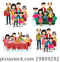 Family portrait with parents and children on sofa 29809292