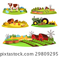Village countryside views on garden and barn 29809295