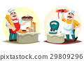 Butcher with meat and baker with bun and bread 29809296
