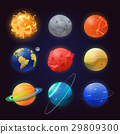 Set of isolated solar system planets and sun. 29809300