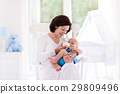 Mother and baby in bedroom 29809496